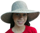Yacht & Smith Floppy Stylish Sun Hats Bow and Leather Design, Style D - Navy