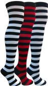 Yacht&Smith Womens Over the Knee Socks, 3 Pairs Premium Soft, Chic Colorful Patterned (3 Pairs Striped (Black, Navy, Red))