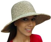Yacht & Smith Floppy Stylish Sun Hats Bow and Leather Design, Style D - Khaki