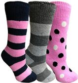 Yacht&Smith 3 Pairs Womens Brushed Socks, Warm Winter Thermal Crew Sock (3 Pairs Assorted A)