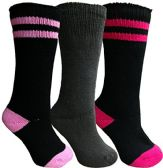 Yacht&Smith 3 Pairs Womens Brushed Socks, Warm Winter Thermal Crew Sock (3 Pairs Assorted B)