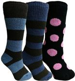 Yacht&Smith 3 Pairs Womens Brushed Socks, Warm Winter Thermal Crew Sock (3 Pairs Assorted C),One Size
