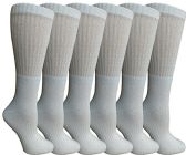 Womens Anti-Microbial Crew Socks, Comfort Knit Ringspun Cotton, Terry Lined, Premium Soft (6 Pack White)