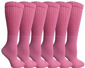 Womens Anti-Microbial Crew Socks, Comfort Knit Ringspun Cotton, Terry Lined, Premium Soft (6 Pack Pink) 6 pack