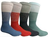 Mens Anti-Microbial Crew Socks, Comfort Knit Ringspun Cotton, Terry Lined (4 Pack) 4 pack