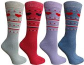 Womens Merino Wool Socks, Backpacking, Hiking, Lightweight Anti-Microbial 50% Premium Wool (4 Pairs Assorted)