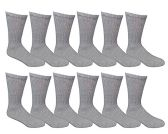 12 Pairs of WSD Womens Cotton Crew Socks, Solid, Ladies Athletic (Grey)
