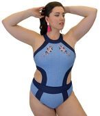 Yacht & Smith Plus Size Womens Swimsuit, Fashion One Piece Bathing Suit Tank (Blue, 1X)