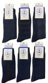 Yacht&Smith 6 Pairs Mens Dress Socks, Textured Solid Colors, Premium Knit (6 Pairs Navy)
