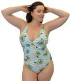 Yacht & Smith Plus Size Womens Swimsuit, Fashion One Piece Bathing Suit Tank (Island, 2X)