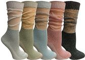 Yacht&Smith 5 Pairs Ruffle Slouch Socks for Women, Unique Frilly Cuff Fashion Trendy Ankle Socks (5 Pairs Ribbed)
