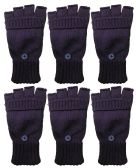 Yacht & Smith Mens Womens, Warm And Stretchy Winter Gloves (6 pack Fingerless Purple)