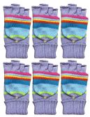 Yacht & Smith Mens Womens, Warm And Stretchy Winter Gloves (6 pack Fingerless Stripe)