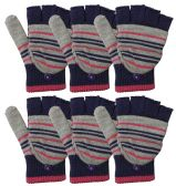 Yacht & Smith Mens Womens, Warm And Stretchy Winter Gloves (6 pack Fingerless A)