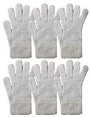 Yacht & Smith Mens Womens, Warm And Stretchy Winter Gloves (6 pack Light Blue Fuzzy)