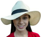 20 Pieces of Yacht & Smith Floppy Stylish Sun Hats Bow and Leather Design, Style B - White
