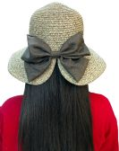 20 Pieces of Yacht & Smith Floppy Stylish Sun Hats Bow and Leather Design, Style D - Khaki