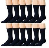 SOCKSNBULK Men's 12 Pairs of Classic Crew Socks with full cushion cotton blend, King Size 13-16 (Navy)