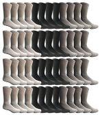 SOCKS'NBULK Men's Sports Crew Socks, Wholesale Bulk Pack Athletic Socks (48 Pack Mix)