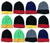 Yacht & Smith Kids Winter Beanie Hat Assorted Colors Bulk Pack Warm Acrylic Cap (12 Pack Two Tone)