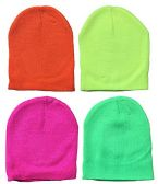 Yacht & Smith Kids Winter Beanie Hat Assorted Colors Bulk Pack Warm Acrylic Cap (4 Pack Neon)