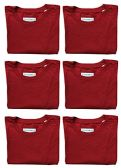 SOCKS'NBULK Mens Cotton Crew Neck Short Sleeve T-Shirts Mix Colors Bulk Pack Value Deal (6 Pack Red, Medium)