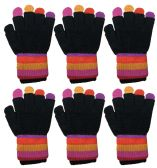 Yacht & Smith Mens Womens, Warm And Stretchy Winter Gloves (6 pack Double Layer)