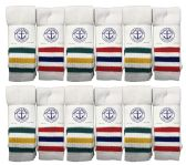 Mens SOCKS'NBULK Premium Cotton Long Tube Socks, Referee Style, Size 10-13 White With Stripes BULK PACK