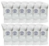 Yacht & Smith Kids Premium Cotton Crew Socks White Size 6-8 BULK PACK