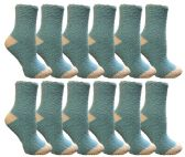 Yacht & Smith Women's Fuzzy Snuggle Socks , Size 9-11 Comfort Socks Blue With White Heel and Toe 60 pack