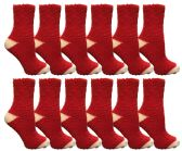 Womens Fuzzy Snuggle Socks , Size 9-11 Comfort Socks Red With White Heel and Toe