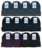 Yacht & Smith Unisex Winter Knit Hat With Stripes 36 pack