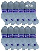 Yacht & Smith Men's King Size Loose Fit Non-Binding Cotton Diabetic Ankle Socks,Gray Size 13-16 12 pack