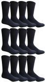 Yacht & Smith Men's King Size Premium Cotton Crew Socks Navy Size 13-16 12 pack