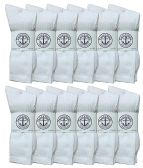 Yacht & Smith Men's King Size Premium Cotton Crew Socks White Size 13-16 12 pack