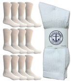 SOCKSNBULK Mens Wholesale Crew Socks, Cotton Basic Wear Size 10-13, White