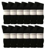 Mens Sports Crew Socks, King Size 13-16, Wholesale Bulk Pack Athletic Sock, by WSD (Black)