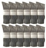 SOCKSNBULK Men's classic crew socks with full cushion cotton blend, gray, sock size King Size 13-16