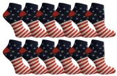 USA Flag Womens Low Cut Ankle Socks, USA Themed Socks By Yacht & Smith (Size 9-11)
