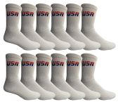 Yacht & Smith Mens & Womens Wholesale Bulk Sports Crew, Athletic Case Pack Socks, by SOCKS'NBULK (12 Pairs White USA, Womens 9-11 (Shoe size 5-10))