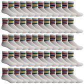 Yacht & Smith Men's Cotton Sport Ankle Socks Size 10-13 With Stripes 60 pack