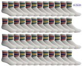 Yacht & Smith Men's King Size Premium Cotton Sport Ankle Socks Size 13-16 With Stripes 48 pack