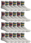 Yacht & Smith Men's King Size Premium Cotton Sport Ankle Socks Size 13-16 With Stripes 24 pack