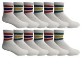 Yacht & Smith Wholesale Mens Mid Crew Skateboard Socks, Cotton Big And Tall Ankle Socks - White - 12 Packs