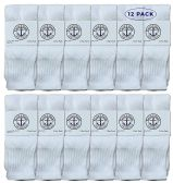 Yacht & Smith Wholesale Bulk Kids Tube Socks, Cotton Sport Athletic Tube Socks - White - 12 Packs