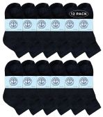 Yacht & Smith Wholesale Bulk Kids Mid Ankle Socks, Cotton Sport Athletic Ankle Socks - Black - 12 Packs
