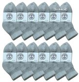Yacht & Smith Wholesale Bulk Kids Mid Ankle Socks, Cotton Sport Athletic Ankle Socks - Gray - 12 Packs