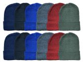 Yacht & Smith Kids Winter Beanie Hat Assorted Colors Bulk Pack Warm Acrylic Cap 24 pack