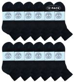 Yacht & Smith Wholesale Bulk Womens Mid Ankle Socks, Cotton Sport Athletic Socks - Black - 12 Packs