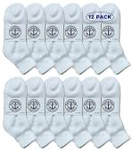 Yacht & Smith Wholesale Bulk Womens Mid Ankle Socks, Cotton Sport Athletic Socks - White - 12 Packs